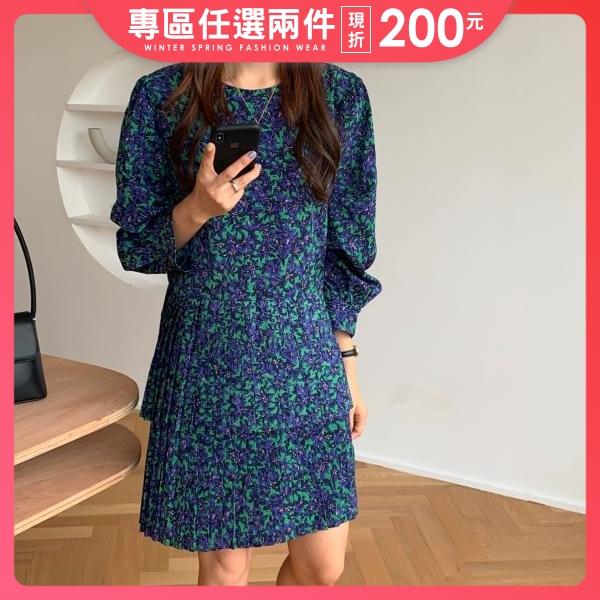 【限量現貨供應】連衣裙.日系甜美花朵渲染百褶長袖洋裝.白鳥麗子