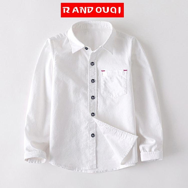 100%棉純棉長袖襯衫男童白色襯衣禮服上衣兒童演出服中大童春 快速出貨