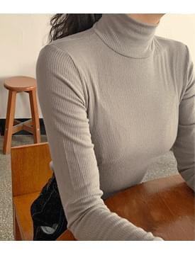 韓國空運 - Ross Ribbed Tencel Turtleneck T-shirt 長袖上衣