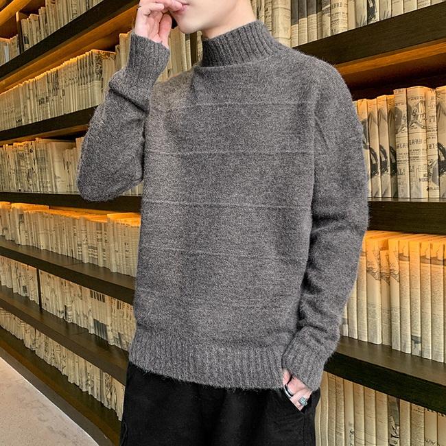 FOFU-(任選2件888)半高領素面針織毛衣打底內搭衫【08SB00096】