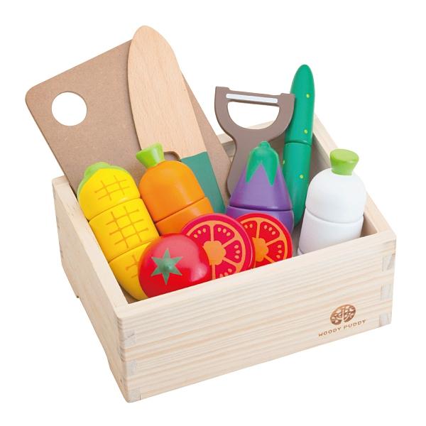 《 日本 WOODY PUDDY 》蔬果切切 (10件組) / JOYBUS 玩具百貨