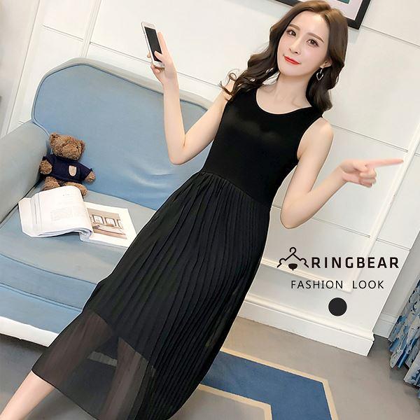 黑色洋裝--韓版名媛風氣質圓領百褶裙雪紡中長版無袖洋裝(黑L-3L)-D489眼圈熊中大尺碼