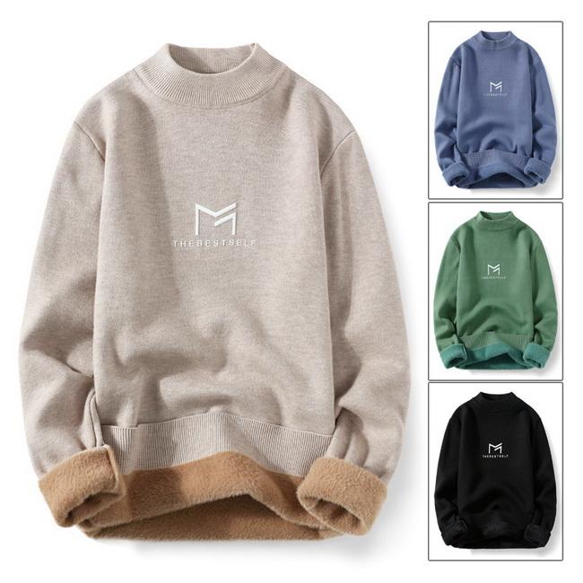 FOFU-(任選2件980)加厚一體絨毛衣半高領保暖套頭針織衫【08SB00132】
