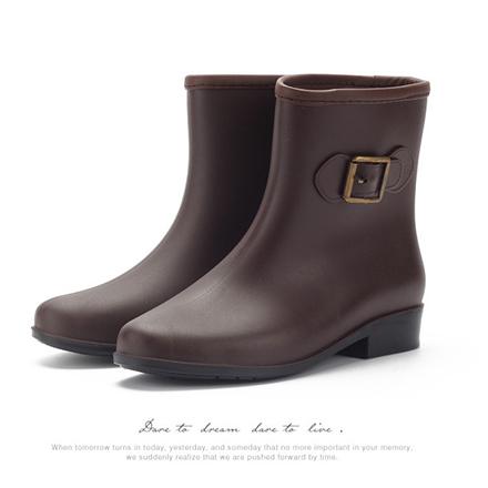 [現貨] 韓系可愛綁帶扣環設計時尚防滑中筒馬丁防水雨靴雨鞋【QZZZ6184】