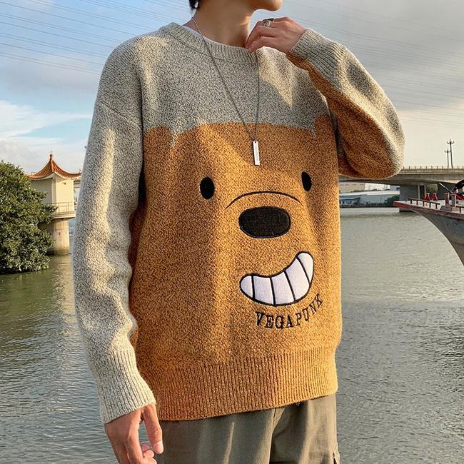 FOFU-ManStyle毛衣日系卡通小熊刺繡寬鬆潮流針織衫慵懶風情侶裝【08SB00021】