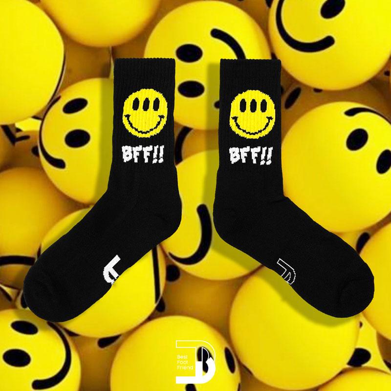 BEST FOOT FRIEND - BF190011-01 大笑臉圖 BFF 中筒襪 / 小腿襪 (黑色)