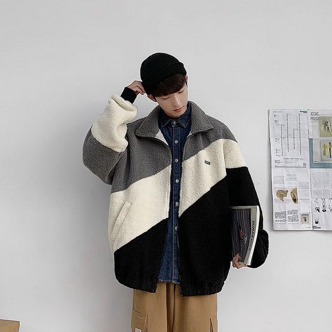 FOFU-ManStyle搖粒絨拼接撞色夾克鋪棉外套加厚羊羔毛鋪棉炸街短版顆粒絨外套【08SB00058】