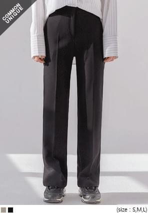 韓國空運 - 素面暗釦直筒西裝褲 長褲