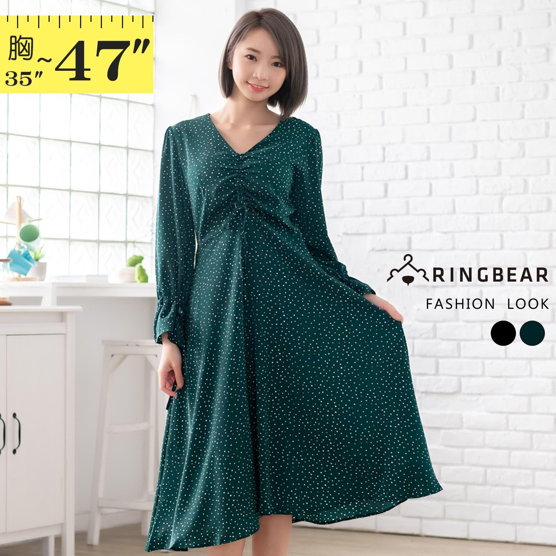 連身裙--顯瘦優雅繫帶抓皺喇叭袖口點點收腰V領長袖洋裝(黑.綠L-3L)-A419眼圈熊中大尺碼