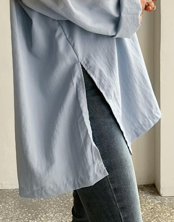 韓國空運 - 落肩袖開衩寬鬆薄款襯衫