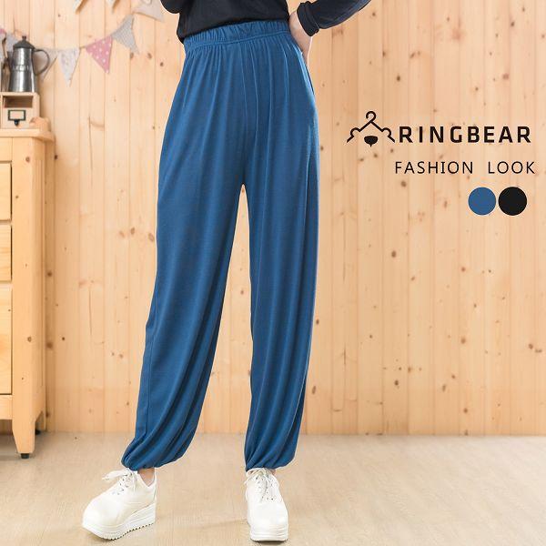 棉褲--簡約舒適休閒寬鬆側邊口袋素面鬆緊帶褲頭縮口褲(黑.藍XL-4L)-P112眼圈熊中大尺碼