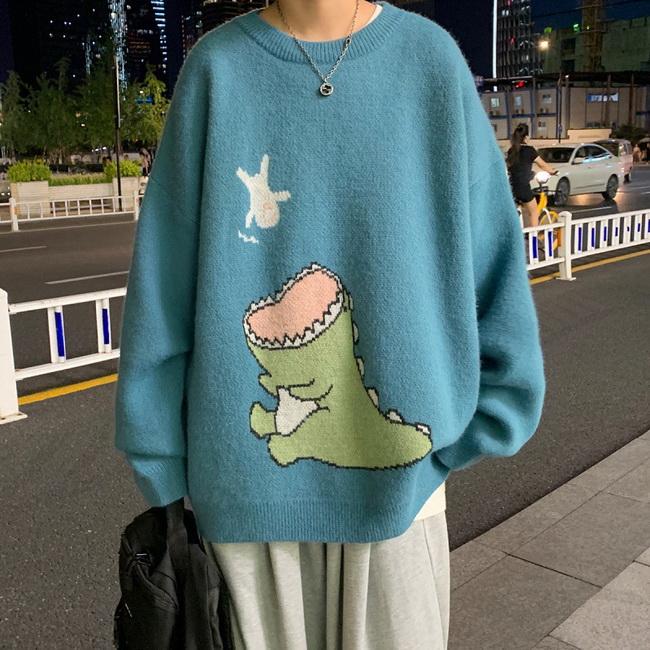 FOFU-ManStyle針織衫女生寬鬆恐龍毛衣寬鬆卡通休閒上衣【08SB00046】