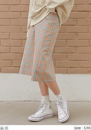 韓國空運 - H-LINE格紋及膝裙 裙子