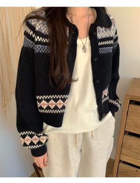 韓國空運 - 暖和可愛圖騰九分針織外套 開襟衫