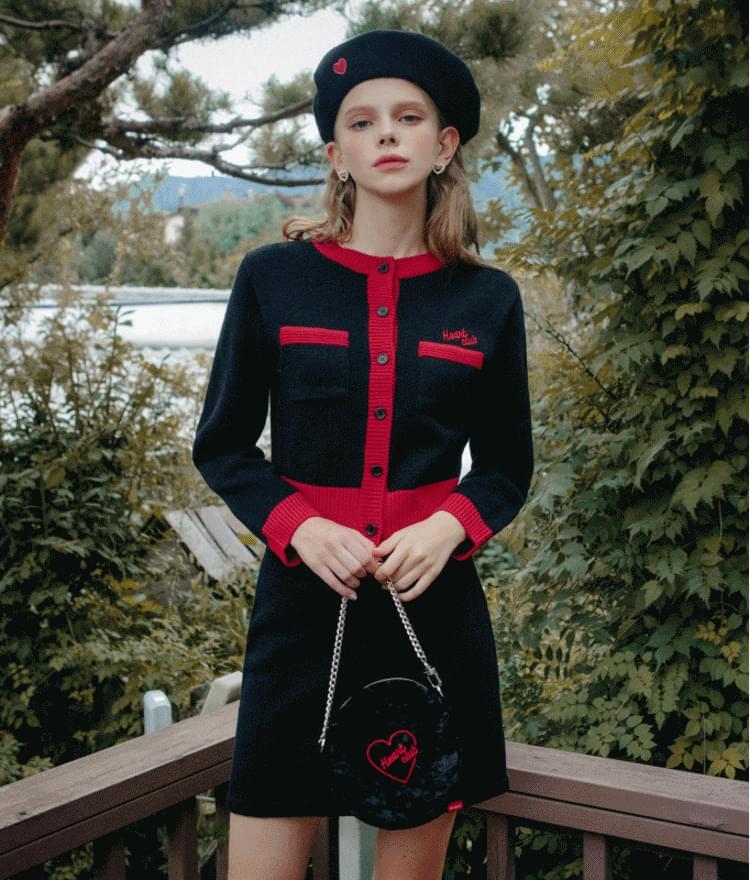 韓國空運 - HEART CLUB Knitted Button-Up Cardigan 開襟衫