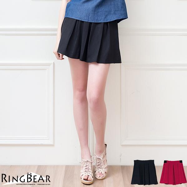 褲裙--青春洋溢A-line高腰彈性百摺褲裙(黑.紅XL-5L)-R164眼圈熊中大尺碼