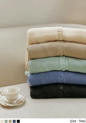 韓國空運 - 寬鬆落肩V領針織外套 開襟衫