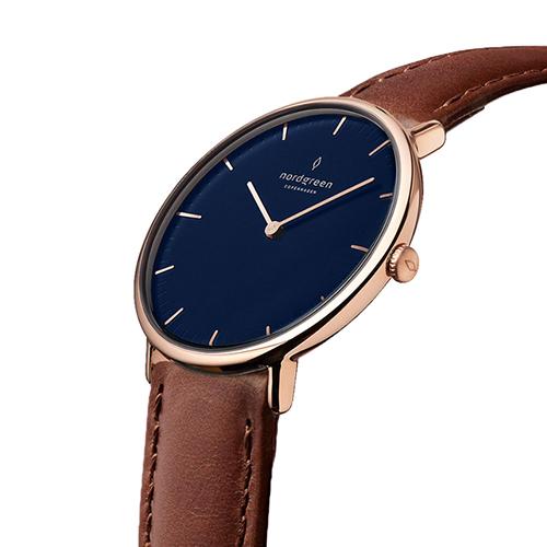 【限時短促88折up!】現貨 ND手錶 Native 本真 32mm Lille 玫瑰金殼×藍面 復古棕真皮錶帶 Nordgreen 北歐設計師手錶 NR32RGLEBRNA 熱賣中!