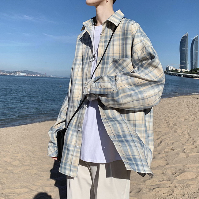FOFU-ManStyle格子襯衫韓版潮流帥氣寬鬆日系休閒長袖襯衫外套【08SB00073】