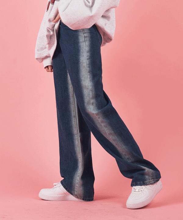韓國空運 - Two-tone Faded denim trousers 牛仔褲