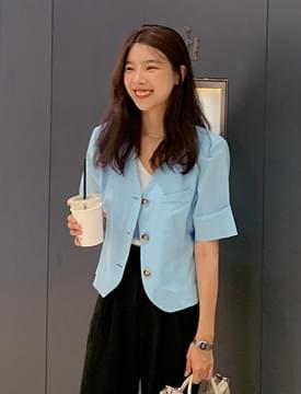 韓國空運 - French cotton cropped jacket 夾克