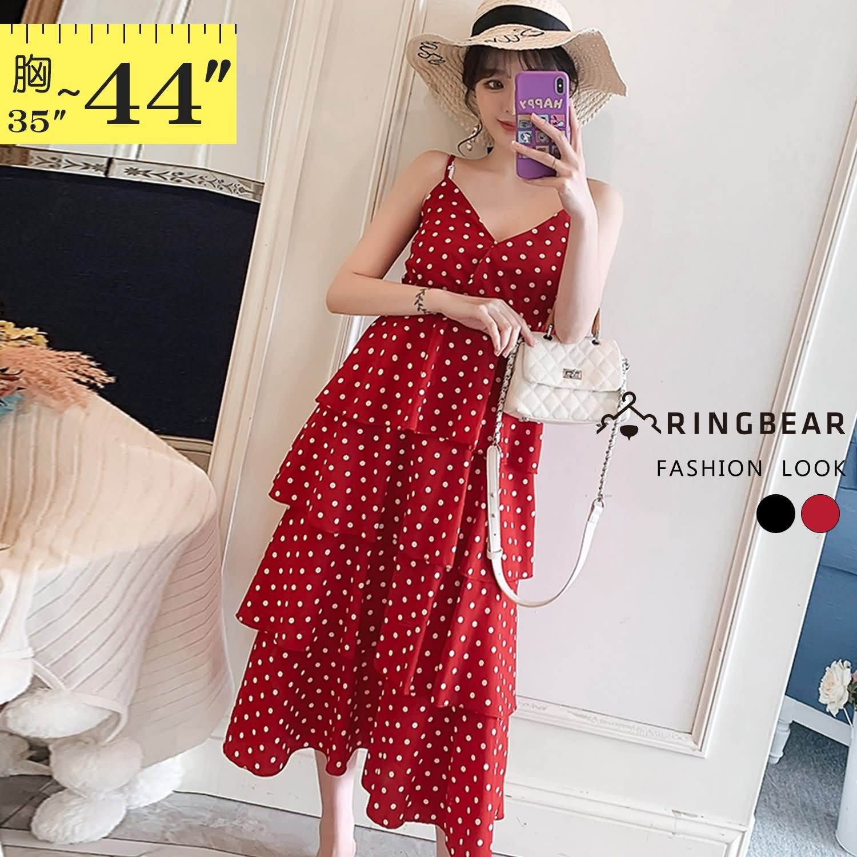 洋裝--性感渡假風顯瘦V領雪紡吊帶露背點點多層次蛋糕連身裙(黑.紅L-2L)-D534眼圈熊中大尺碼