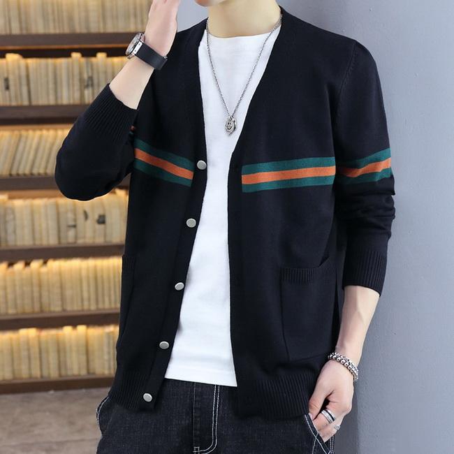 FOFU-(任選2件980)拼色修身針織罩衫長袖短外套【08SB00120】