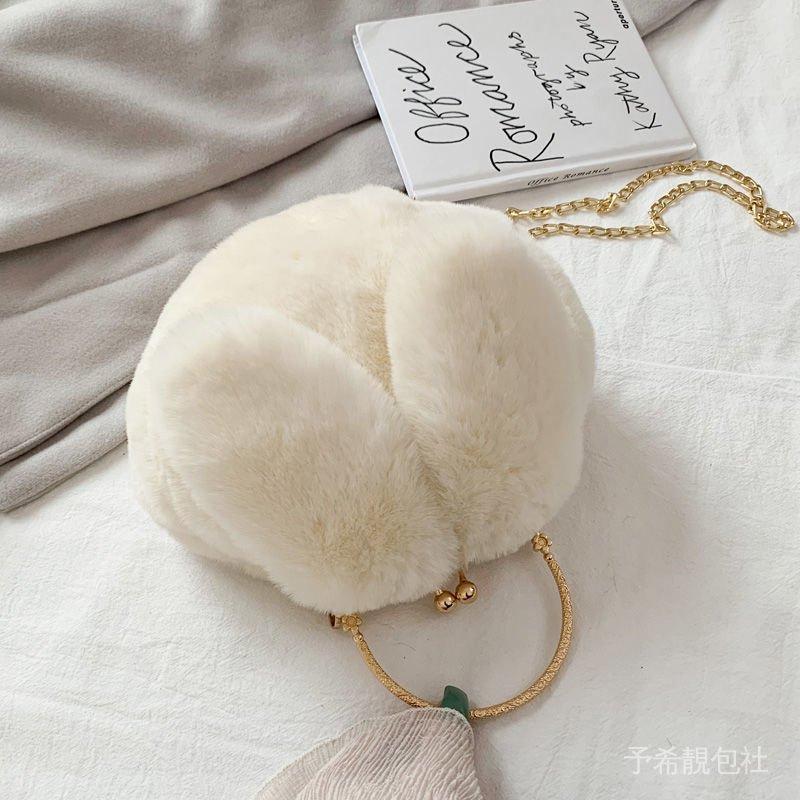 毛毛包包韓版斜挎女學生單肩可愛2020新款百搭鏈條兔子手提毛絨包