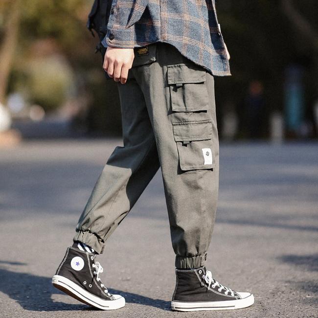 FOFU-ManStyle工作風褲束腳寬鬆多口袋休閒九分褲個性潮流褲子【08SB00072】