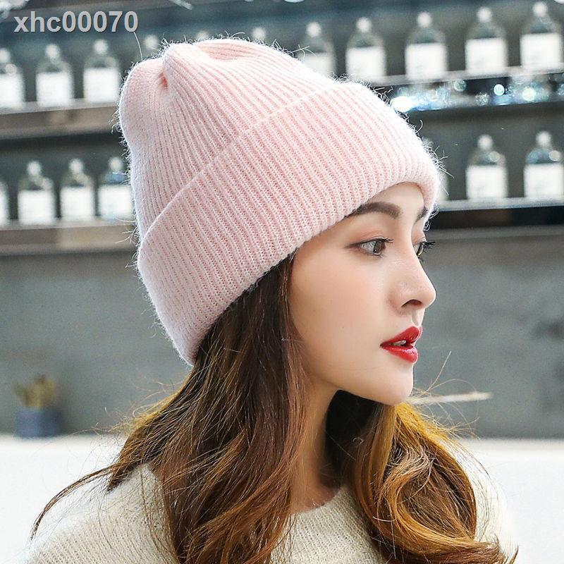 【現貨】帽子女兔毛保暖卷邊針織帽秋冬百搭韓國護耳堆堆帽純色毛線帽女潮