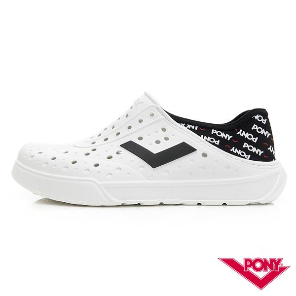 【PONY】ENJOY系列洞洞鞋-中性款-龐克/白