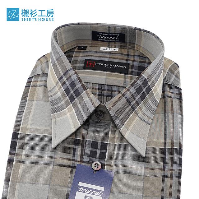 皮爾帕門pb米色大地色系寬格紋、對花對格純棉好穿、超值進口素材寬鬆版下擺齊支可外穿64196-06-襯衫工房