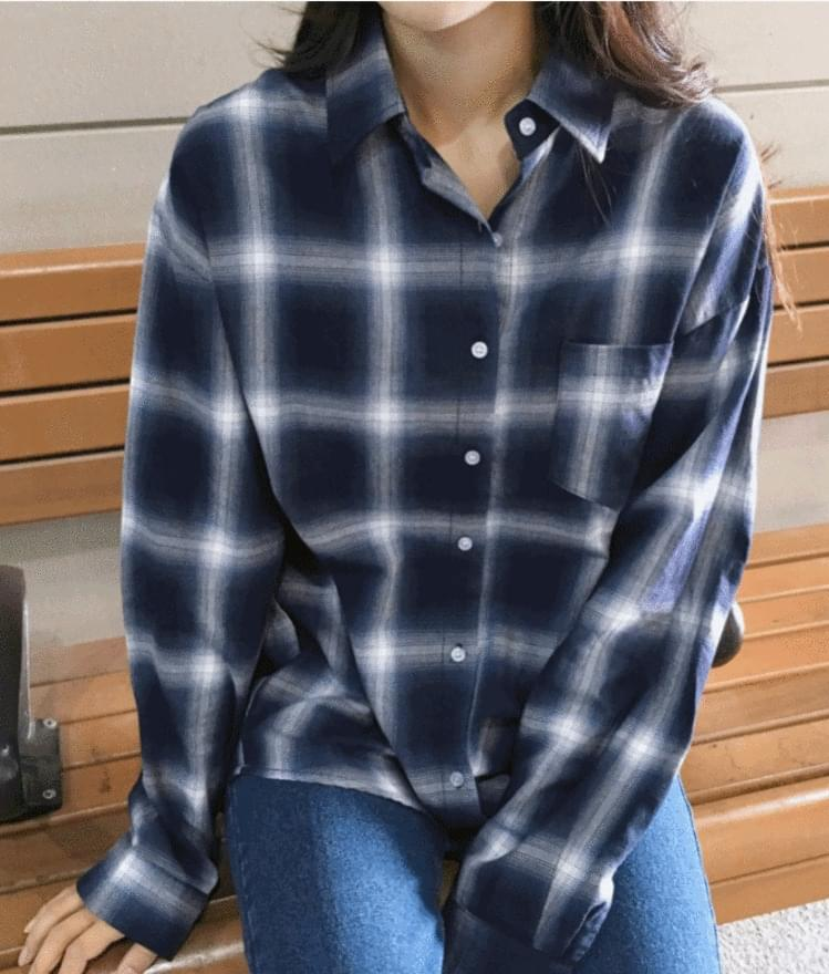 韓國空運 - Button-Up Loose Fit Check Shirt 襯衫