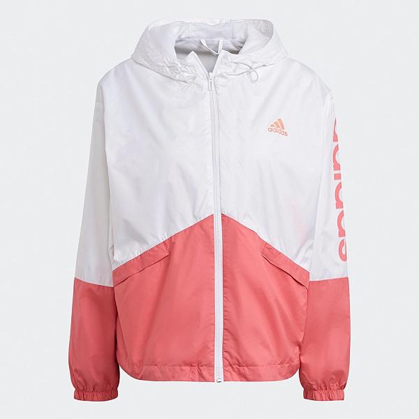 Adidas Essentials 女裝 外套 連帽 風衣 圓弧後擺 口袋 網布 白 粉【運動世界】GM5623