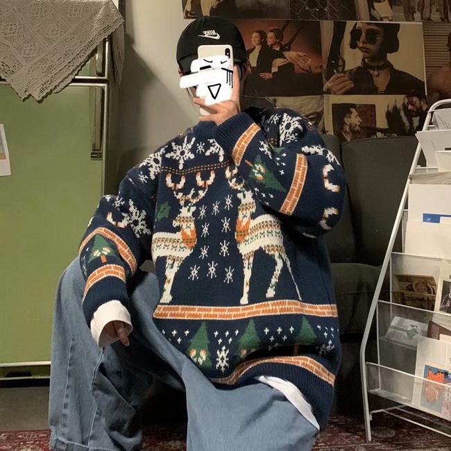 FOFU-ManStyle毛衣生加厚款情侶裝外套韓版寬鬆慵懶耶誕節針織衫【08SB00040】