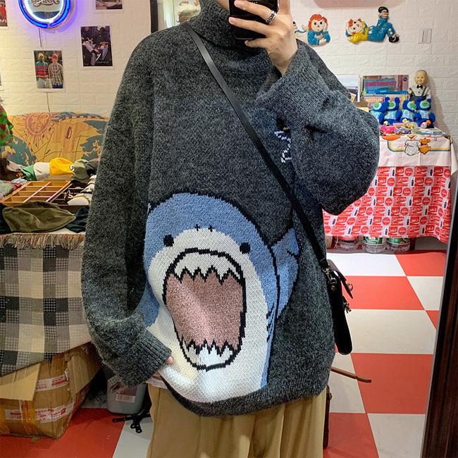 FOFU-ManStyle加絨高領毛衣可愛卡通鯊魚韓版休閒寬鬆慵懶風外穿情侶款【08SB00057】