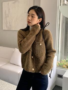 韓國空運 - 珍珠造型釦混織針織外套