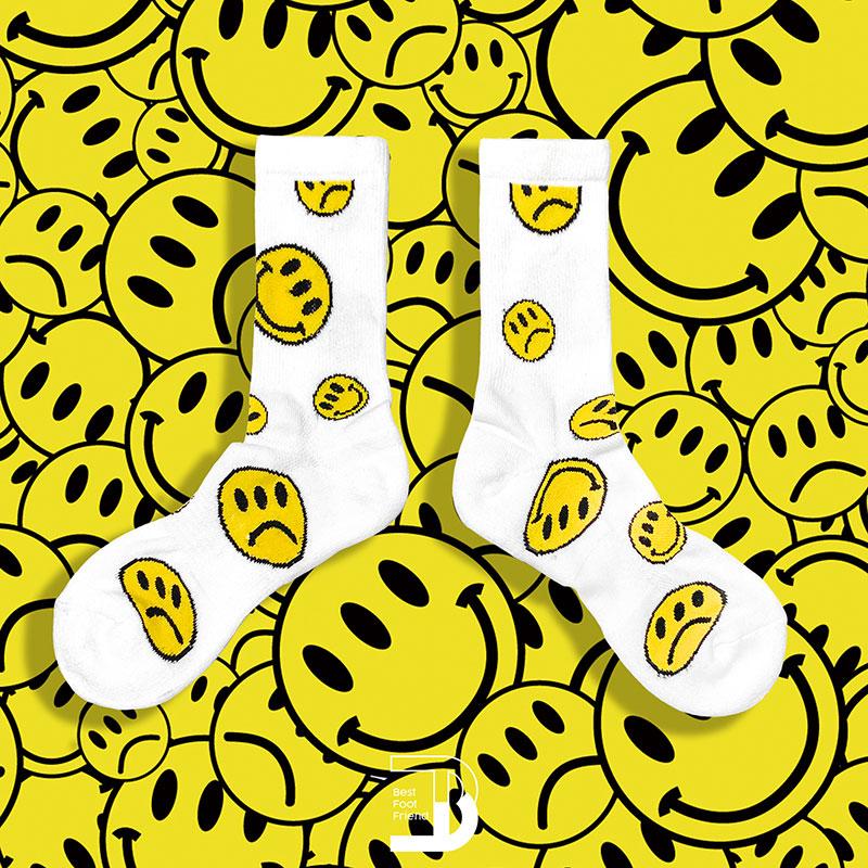 BEST FOOT FRIEND - BF200012-02 滿版笑臉 BFF 中筒襪 / 小腿襪 (白色)