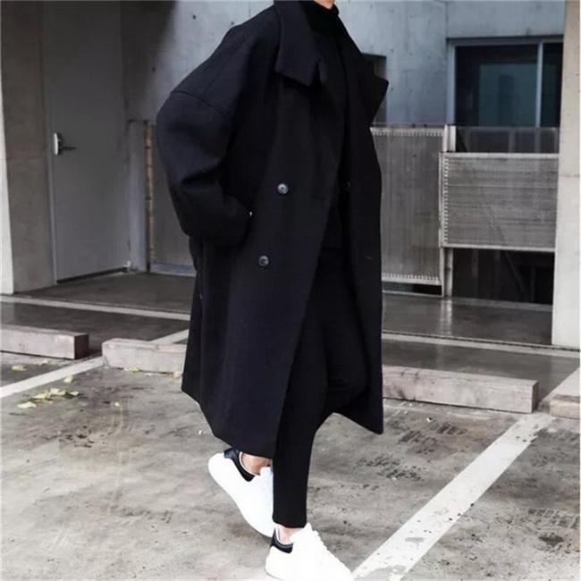 FOFU-ManStyle毛呢大衣韓版潮流中長版風衣寬鬆裝網紅毛呢外套原宿風【08SB00029】