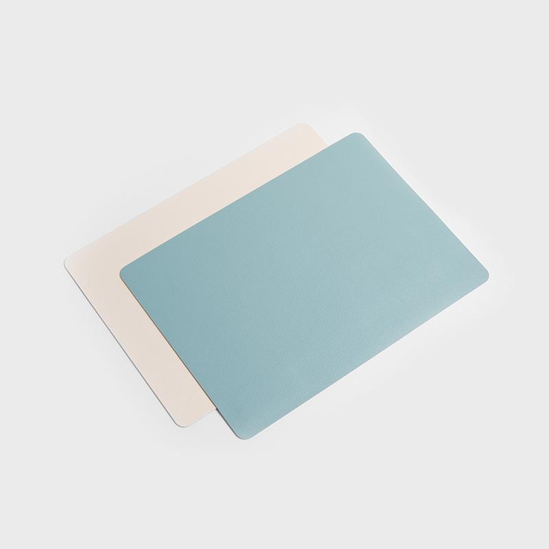 雙彩素雅 46cm 荔枝紋PU人造皮長方餐墊│單品│藍白