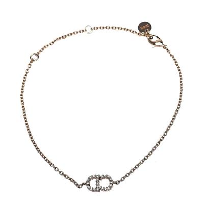 DIOR 經典CLAIR D LUNE品牌LOGOG水鑽鑲飾造型手鍊(金)