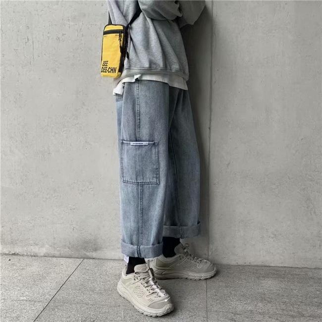 FOFU-ManStyle工作風牛仔褲潮流直筒闊腿褲韓版墜感復古老爹褲【08SB00028】