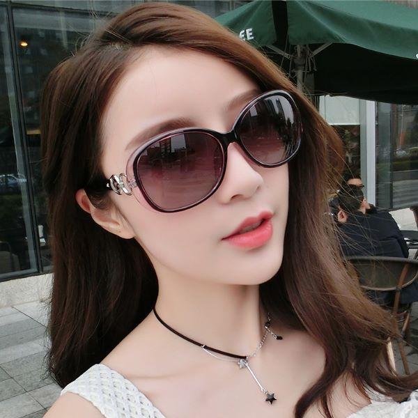 明星款魅惑紫復古大框墨鏡 網紅同款太陽眼鏡 造型眼鏡+抗壓眼鏡盒-凱西娃娃