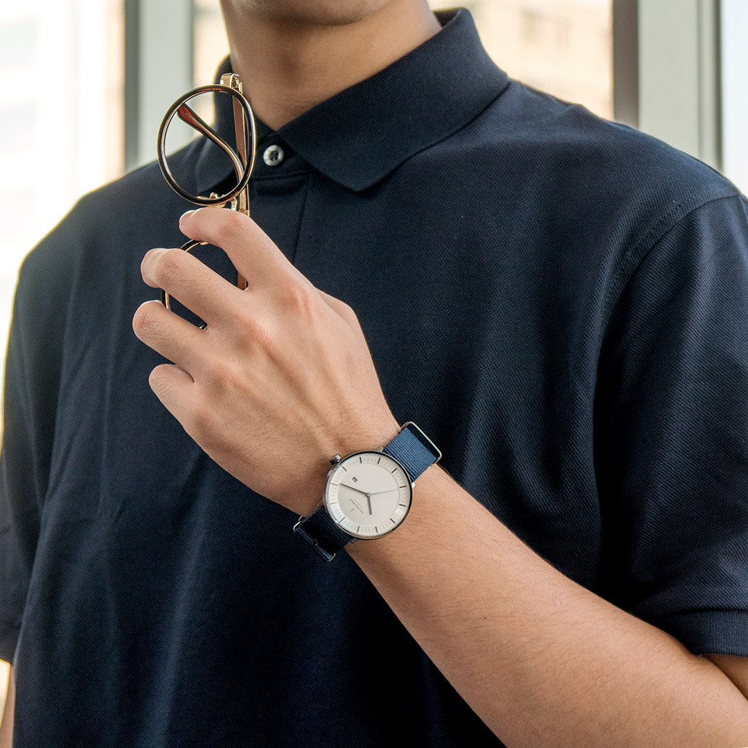【限時短促88折up!】現貨 ND手錶 Philosopher 哲學家 40mm 深空灰殼×白面 北歐藍尼龍錶帶 Nordgreen 北歐設計師手錶 PH40GMNYNAXX 熱賣中!
