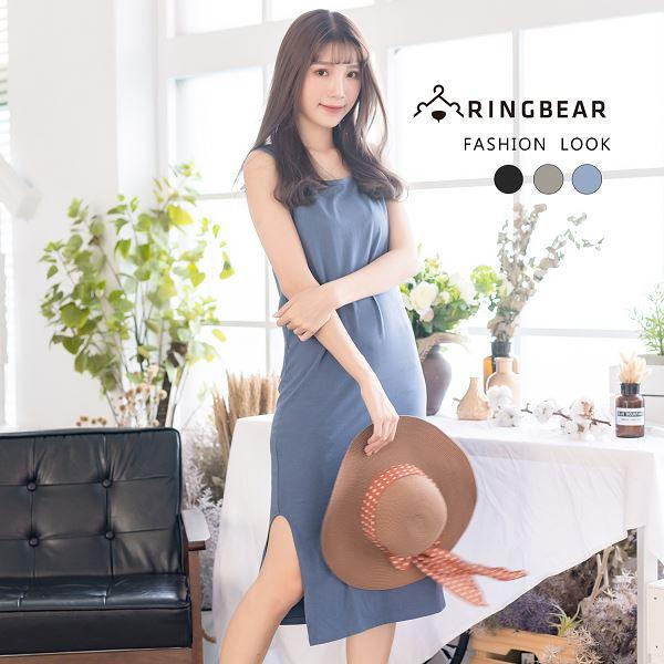 休閒洋裝--舒適修身寬肩帶素面U領無袖長版洋裝/背心(黑.灰.藍M-4L)-D511眼圈熊中大尺碼