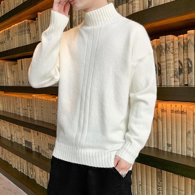 FOFU-(任選2件888)素面針織毛衣打底內搭衫【08SB00094】