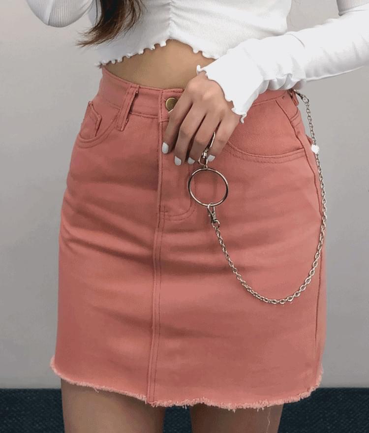 韓國空運 - Raw Hem Cotton Mini Skirt 裙子