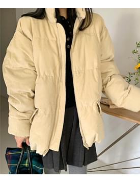 韓國空運 - Corduroy Overfit Wellon Padded Jacket zip-up