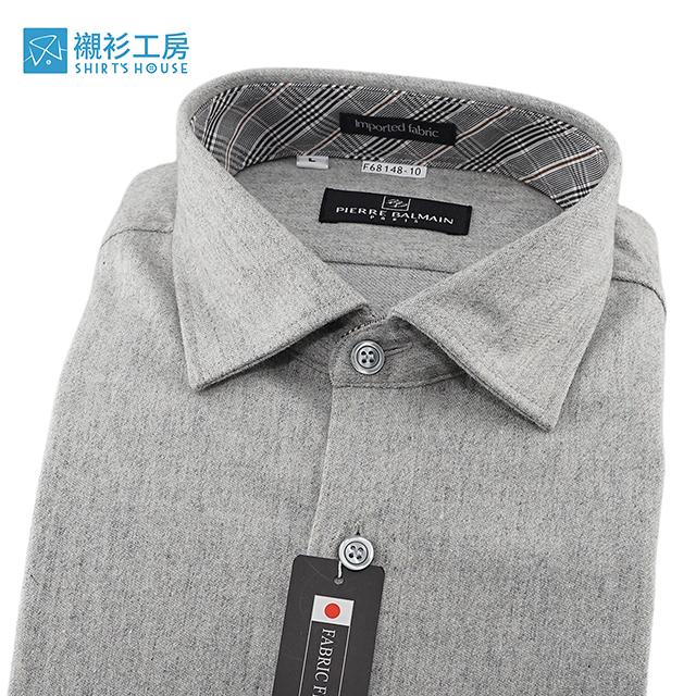 皮爾帕門pb灰色素面、領座配布、進口素材保暖厚料下擺齊支可當襯衫外套68148-10-襯衫工房