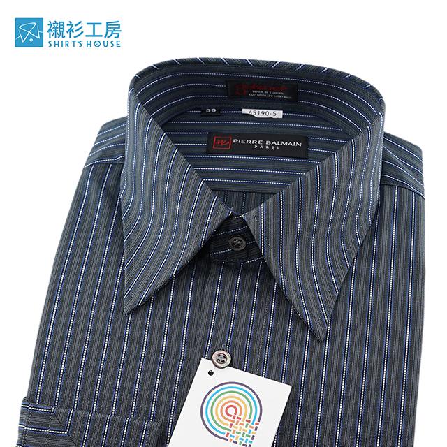 皮爾帕門pb藍色條紋、領面克夫拼接設計、紳仕歐風、進口素材寬鬆版長袖襯衫65190-05-襯衫工房